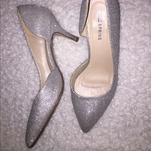 Call it Spring sparkly silver small heels size 7